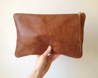 Leather Clutch. Brown Leather Clutch. Large Leather Pouch. Leather Cosmetic Bag
