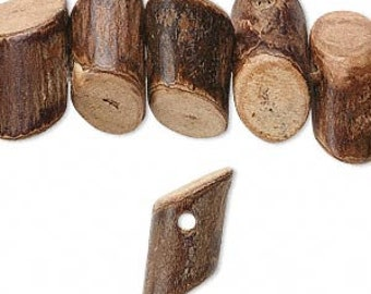 Wood Bead, Cylinder , Angle Cut, Natural Wood, 16x6mm to 24x10mm, 20 Beads, D907