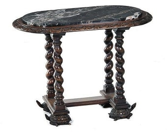Unusual Turtle Foot And Barley twist carved side table with Egyptian Marble top