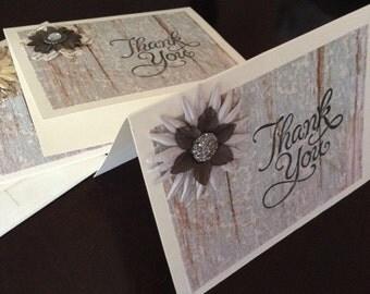 Handmade Thank You Cards Blank inside  pkg 4