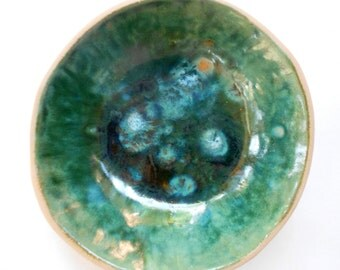 Handmade pottery bowl rustic ceramic bowl dark green geode like glaze earthy 6 inch bowl home accent dinnerware