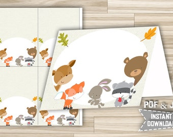 Food Tent Labels Cards Woodland Animals - Printable Food Tent Cards Woodland - Party Food Tents Place Cards  - Instant Download - w1
