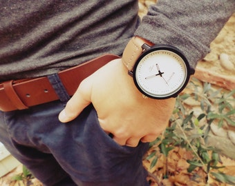 Men - women watch - brown bracelet - large white dial - jewelry - bracelet leather watch able - mixed - gift