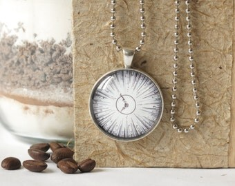 necklace ...striving... pencil drawing, cabochon necklace, antique silver, product line ...timeless...