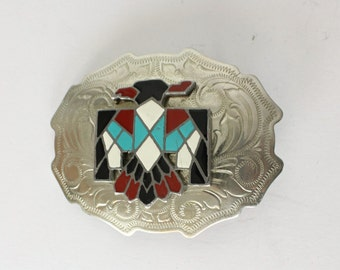 Thunderbird Southwest Enamel and Nickel Silver Belt Buckle/ Vintage Southwest Belt Buckle