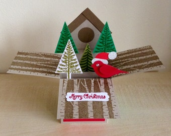 Handmade christmas card in a box,3D christmas card.