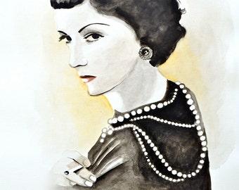 Coco Chanel Fashion Illustration Black Couture Classic Art Print