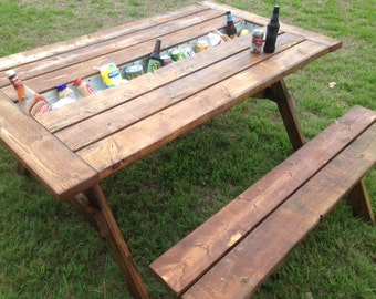 Picnic Outdoor Table with Built in Trough
