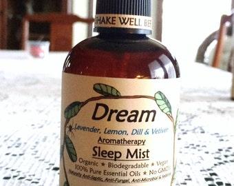 DREAM Aromatherapy Sleep Aid Mist Spray with Lavender, Lemon, Dill & Vetiver-Organic-Vegan-Biodegradable-Vegan-No GMO's