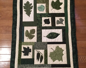Green Leaves Wall Hanging or Table Topper