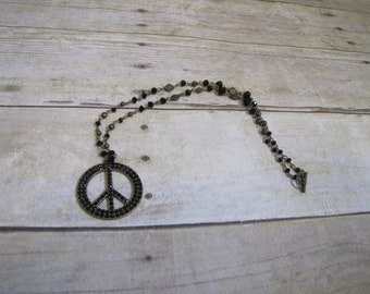 Black Bling Peace Sign