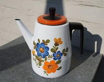 Vintage 70' enamelled metal coffee pot with orange and blue flowers