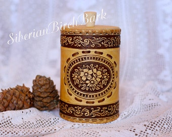 Wooden canister, Kitchen jar, Tupperware, Round canister, Birch bark canister, Flowers, Rustic style