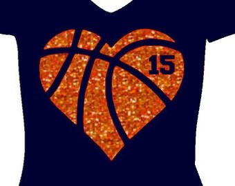 Heart Basketball, Glitter Vinyl heat transfer, Iron-on Basketball, Love basketball, Custom basketball