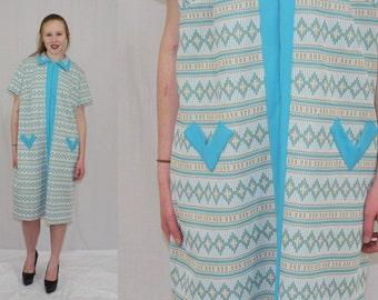Vintage 60s Mod Teal Stripe ETHNIC Print Zip Front Boho Day Shift Dress XL XXL