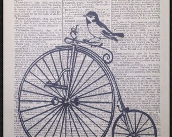 Vintage Bird Penny Farthing Bike Bicycle Dictionary Page Print Picture Wall Art