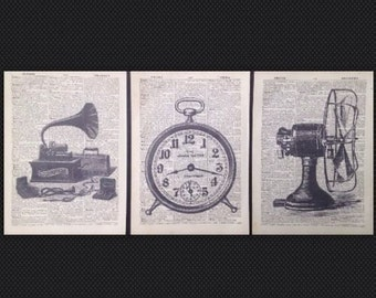 3 X Vintage Industrial Prints Dictionary Page Wall Art Pictures Hipster Upcycled Fan Gramophone Clock