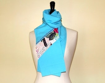 Scarf sky blue and printed flowers and birds