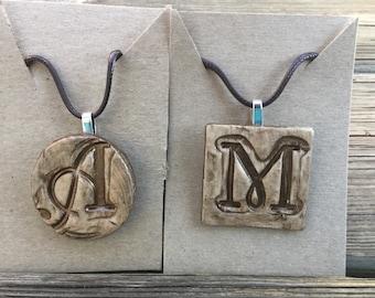 Black or Metallic Brown Monogrammed Necklace
