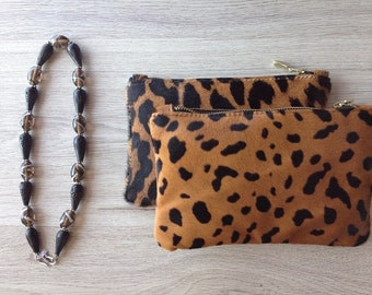 """Cavallino"" animal print leather clutch 19x13"