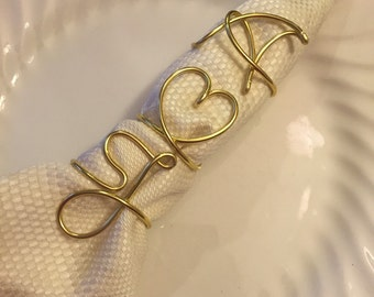 Set of 3 Personalized napkin rings, initial napkin rings with a heart or an ampersand