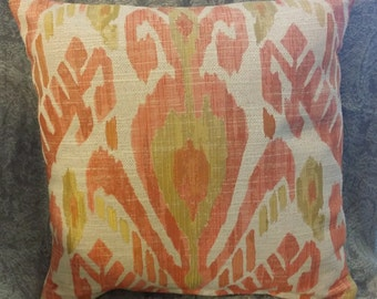 Zippered Pillow Cover - Ikat in Ecru, Oranges, Yellows