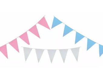 Pink or Blue Or White Baby Shower, Christening, Baby Boy, Baby Girl Bunting per metre