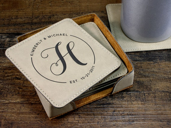 Personalized Coasters Monogrammed Coaster Set For Couples