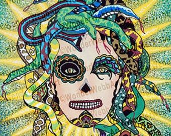 5x5 Medusa da un poco de azucar (Medusa gives a little sugar) Sugar Skull Day of the Dead Dia De Los Muertos Art Print