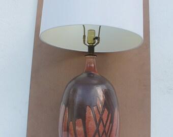 Vintage Art  Dirp Brown  Glaze Ceramic Table Lamp .