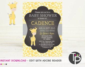 GIRAFFE Baby Shower Invitation, INSTANT Download GIRAFFE Invitation, Giraffe Baby Shower, Print yourself, Edit text with Adobe Reader, 0102