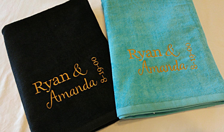 Wedding Honeymoon Anniversary Personalized Beach Towel Gift SET Fiancee Husband Wife Custom Choose Colors