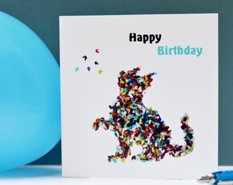 Happy Birthday Cat Card, Birthday Card with Cat, Cat Birthday Card, Cat Lovers Card, Butterfly Birthday Card, Card for Cat Lover