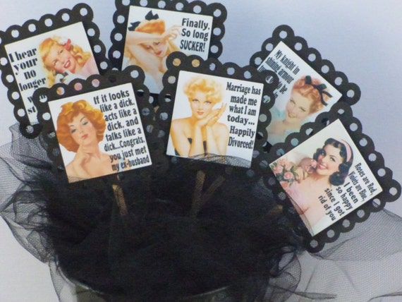 Sassy Divorce Party Retro Pin Up Cupcake Toppers