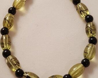 Green Glass Bead Bracelet - Black Glass Bead Bracelet - Green Bracelet - Black Bracelet - Women's Bracelet - Women's Green Bracelet -Jewelry