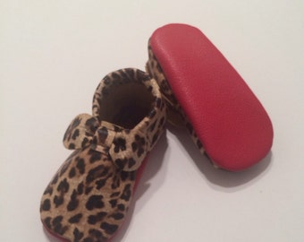 Cheetah Louboutin Inspired Bow Leather Baby Moccasins, Louboutins, Red Bottoms, Baby Moccs, Baby Moccasins, Toddler Moccasins, Leather Moccs