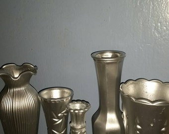 Metallic silver vases, set of 5