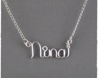 Nina Wire Word Name Pendant Necklace