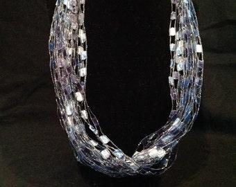 Brilliant Blue Scarf Necklace, Adjustable length
