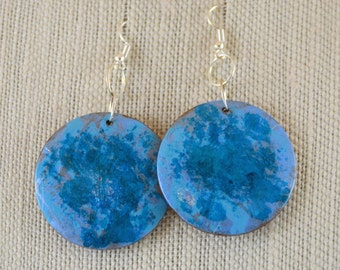 Blue Boxwood Earrings - OOAK
