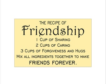SIGN STENCIL - The Recipe of Friendship - 10 x 16 Stencil - create a lovely sign!