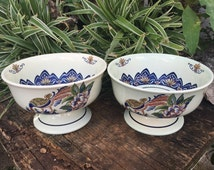Boch Frères Keramis Pair Delft Bowls Two VIEUX RHODES Delfts Polychroom Chinois Footed Bowl Lyrebird Candy Dish Chinoiserie Cachepot Compote