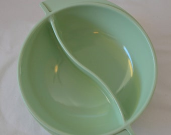Vintage Boonton Melmac Mint Green Winged Divided Serving Bowl