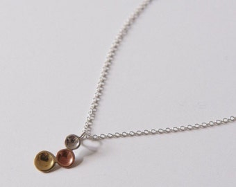 TRI DOT NECKLACE - Sterling Silver Copper and Brass 3 Circles Pendant with Chain -Mixed Metal Necklace - Small Pendant