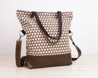 Brown leather tote,Leather Tote Bag,Zipper tote,Brown triangle,Convertible Tote,Canvas Leather Tote, tote bag,triangle tote,triangle Canvas