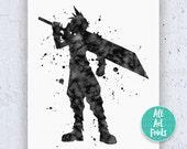 Cloud Strife final fantasy print, ffvii, Cloud Print childrens posters, final fantasy poster, ffvii, final fantasy vii, Kingdom Hearts featured image