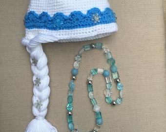 Elsa Frozen hat with necklace