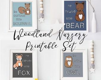 Woodland Nursery, Fox Nursery Art, Bear, Owl, Squirrel, Nursery Wall Decor, Woodland Creatures