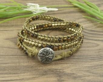 Tiger Beads Bracelet -Golden Beads Bracelet- Triple bracelet