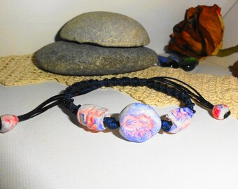 Clay bracelet, Handmade clay bracelet, Clay jewelry, Blue and pink bracelet, Handmade clay beads bracelet, Gifts for her, Air-dry clay beads